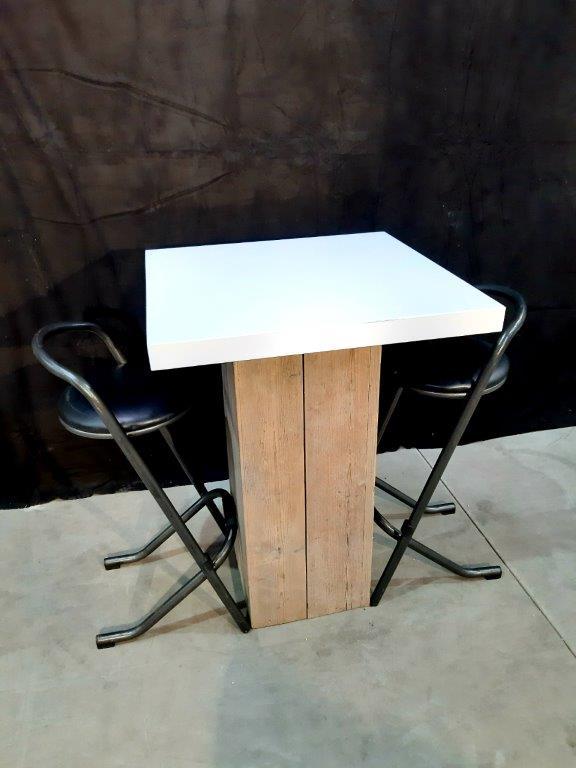 Statafel steigerhout met leren blad wit 80x80x110